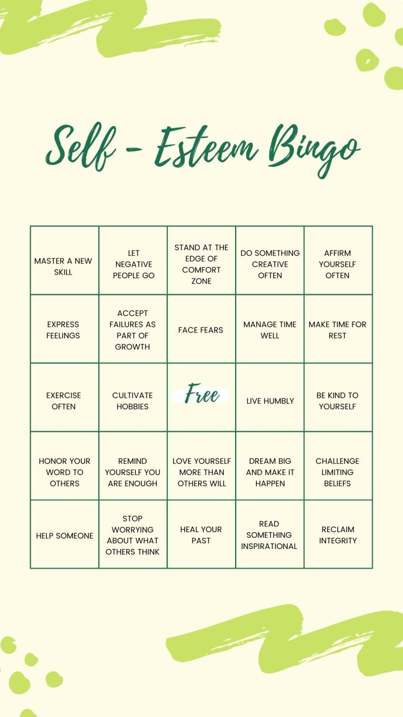 Green Self Esteem Bingo Advocacy Interactive Instagram Story
